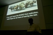 Wildlife veterinarian, Dr. William Fowlds gives a talk about what we could do to save the rhinos in the General Lecture Theatre on Rhodes University campus, Eastern Cape, 22 March 2012, His main message is that if we fail to make a difference with the rhinos how do we expect to save the rest, we can make a difference because it has been done before. PHOTO: Tania Pehl