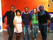 2012 Super Stage runner's-up, Kumbirai Gundani and Kennedy Kitheka (3rd; 5th from left) with Supernews Founder, Gina Levy (2nd from right) and Hectic Nine-9 Presenters