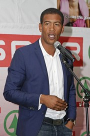 Former Bok turned rugby analyst Ashwin Willemse gives his views on rugby and charity at the SPAR Eastern Cape Charity Golf Day in Port Elizabeth. Photo: Leon Hugo